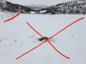Bålpannerester tømt ut på snøen - på dyrka mark